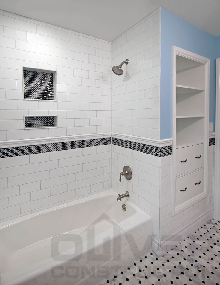 White With Black Accent Bathroom Subway Tile With Accent