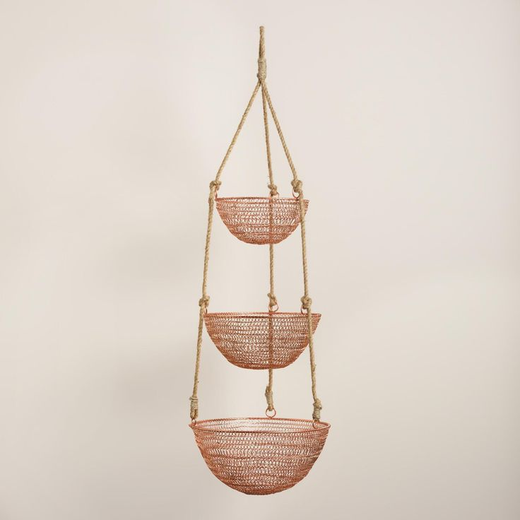 Copper And Rope 3 Tier Hanging Basket Copper Planters