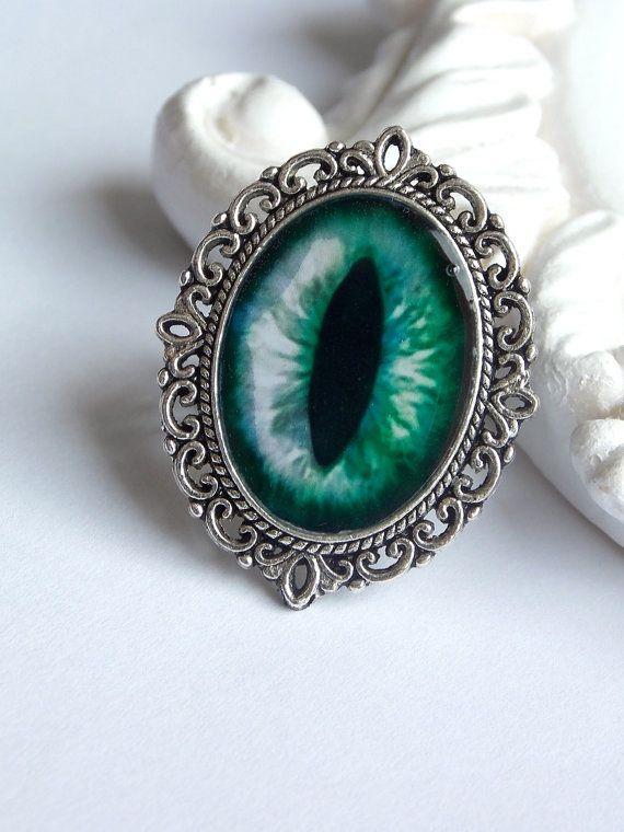 Green cat eye gothic rockabilly silver ornated by SweetAsylumShop