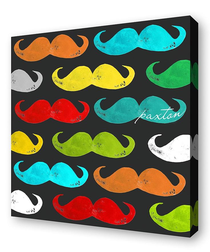 Charcoal Mustache Personalized Wall Art