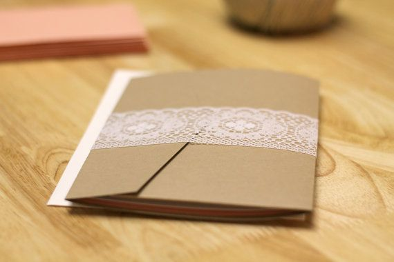 Rustic Peach Wedding Invitation with Kraft Pocketfold by kxodesign