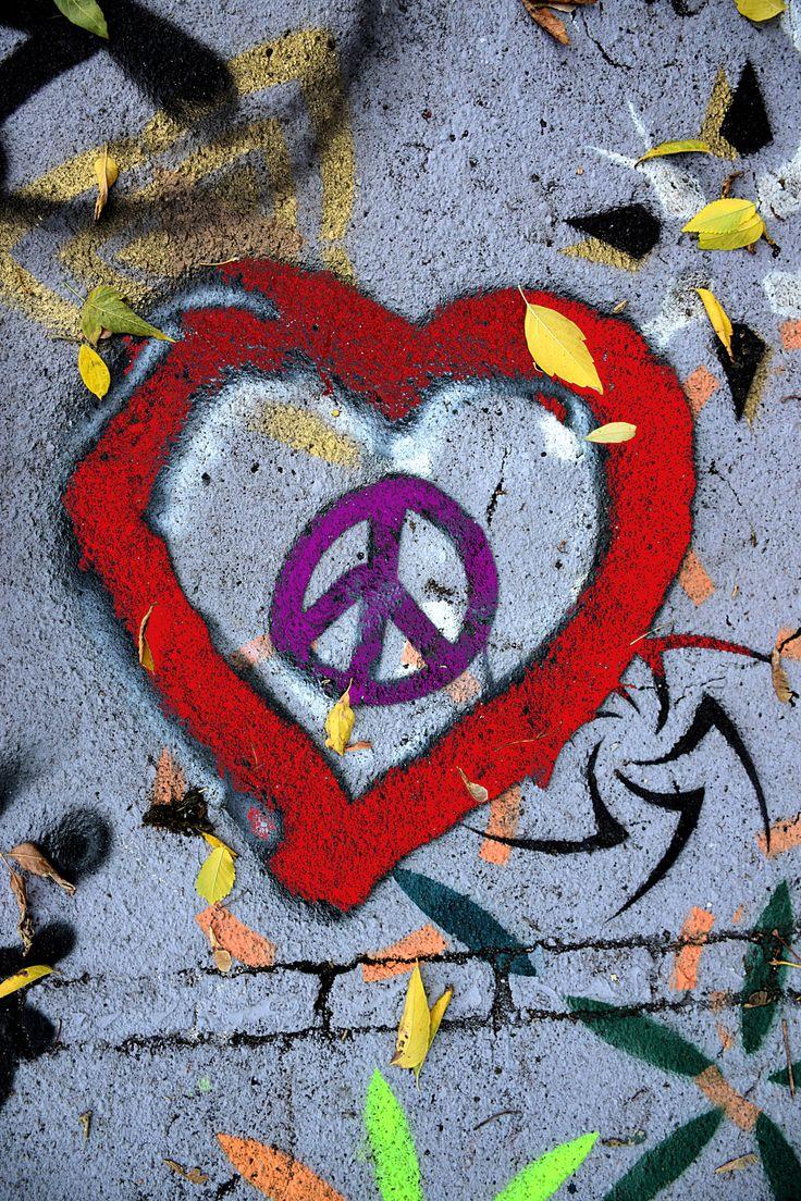 Peace & Love - Peace & Love symbol inside heart graffiti.