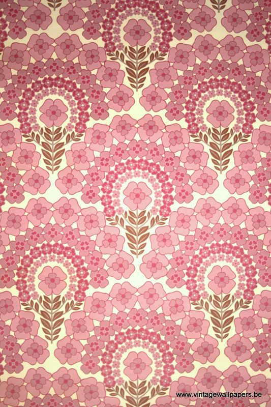 pattern: Vintage Wallpapers, Retro Wallpaper, 1950S, Pink Pattern, Vinyl Wallcovering, 1980S