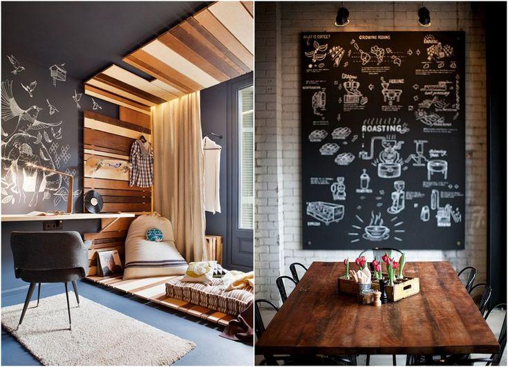 Decore ambientes de forma moderna, bonita e barata: parede de lousa. Veja mais: