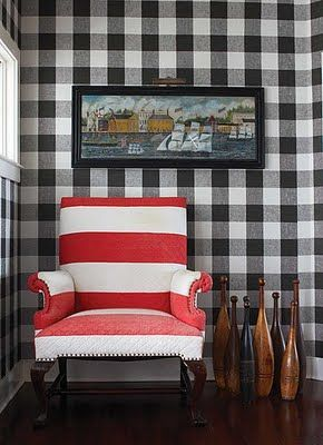 A very tasteful combination of stripes and plaids for a vintage country feel. | brabournefarm.blogspot.com: Gingham, Idea, Red Stripes, Plaid, Black White, Stripes Chairs, Wallpapers, House, Buffalo Check