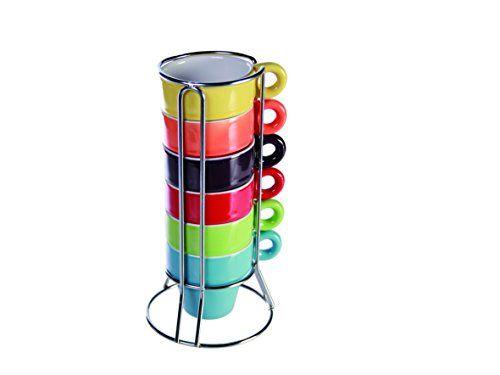 SalesFever - Juego de tazas de café y soporte (6 unidades), varios colores #juego #cafe