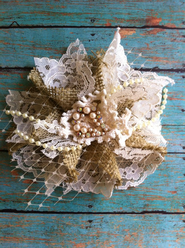 Visit me at dolledanddazzled.etsy.com  Gorgeous burlap and vintage lace flower.Embellish a lampshade, curtain tieback, bridal flower, wear as a headband, brooch or hairclip, etc.