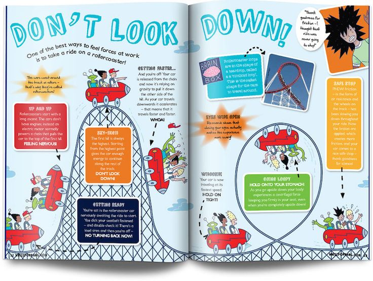 Rollercoaster layout UK children's science magazine for kids