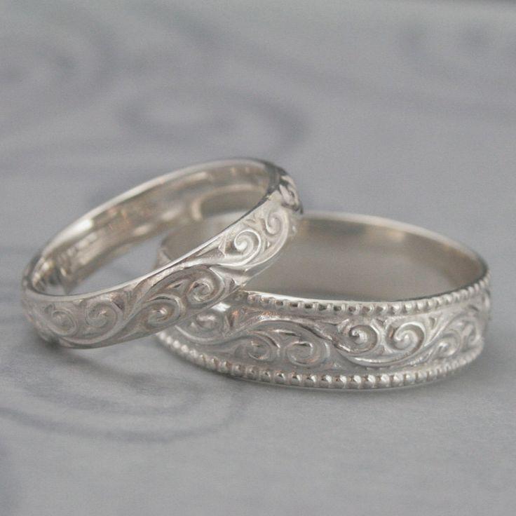 Cool Flourish Wide Wedding Band SetSterling Silver Swirl by debblazer