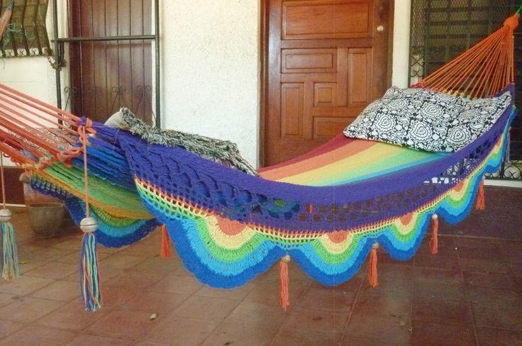 Rainbow magic, Beautiful single size hammock, Rainbow colors combination with Special Fringe. $49.00, via Etsy.: Size Hammocks, Beauty Single, Rainbows Hammocks, Rainbows Color, Special Fringes, Color Combinations, Rainbow Colors, Single Size, Rainbows Magic