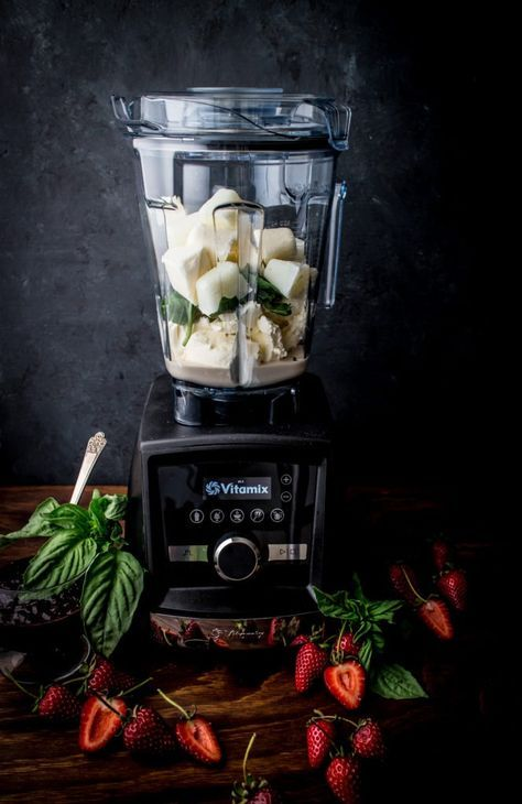 Make your own Ice Cream at home with your Vitamix A3500! Try this Basil & Mascarpone Ice Cream with Pinot Noir Strawberry Swirl recipe