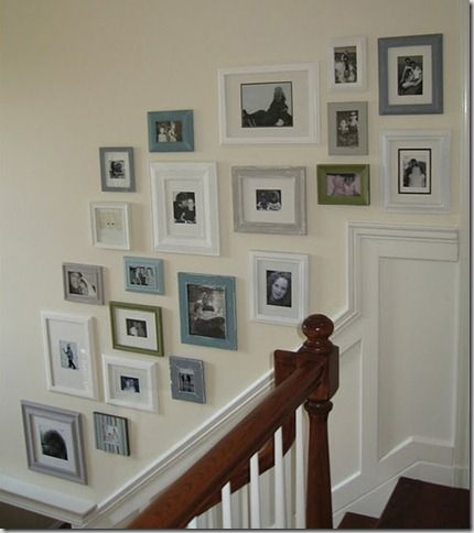 This is probably one of my favorite photo gallery walls! I LOVE the pops of green and blue frames mixed in amongst the greys and whites. Beautiful!