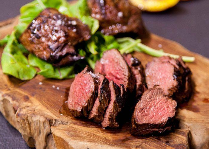 Cognac-chilli ostrich steak