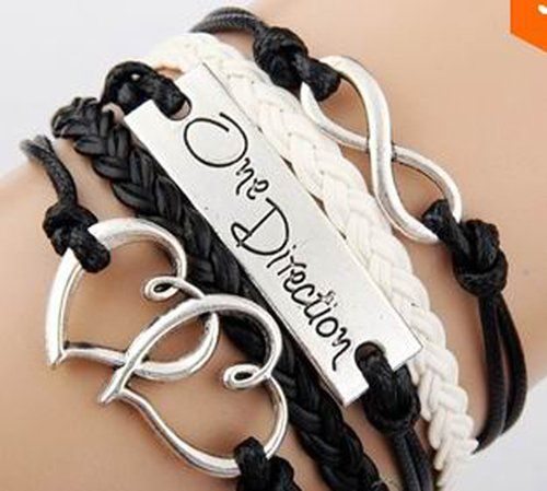 EmBest Antique Silver Charm One Direction Infinity Heart Braided Black cord Leather Mixed Bracelet Wristbands Xmas Gift One Direction Bracelet , 1D Bracelet. One Direction Watch Bracelet , 1D Ultimate Fan Accessories. One Direction clothing accessories. One Direction accessories , 1D Accessories. A Must For One Direction Concerts ! Stand out singing with This is us, Rock Me, Kiss You, Heart Attack... #1D #Sports