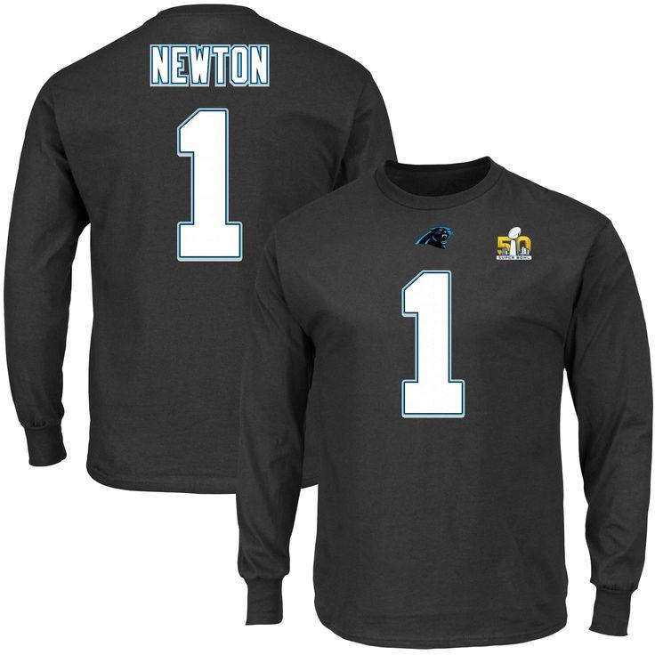 Cam Newton Carolina Panthers Majestic Super Bowl 50 Bound Eligible Receiver II Name & Number Long Sleeve T-Shirt - Black - $25.64
