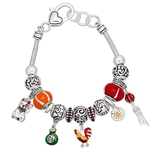 Good Luck Fortune Charm Bracelet BT Murano Beads Rooster ... www.amazon.com/...