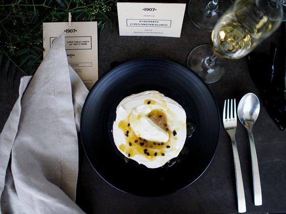 How to host the perfect (and Instagram-worthy) summer soirée - Vogue Australia / 1907 / floral army / a minute away from snowing /  vintage chairs / long table lunch / the range / toodyay / overhead foliage / padlock to plate / intimate dining / pavlova / black crockery / Turtle and the Pelican www.turtleandthepelican.com.au