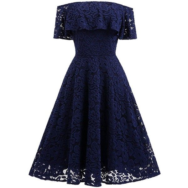 Adodress Women's Lace Short Prom Dresses Short Sleeve off Shoulder... ($29) ❤ liked on Polyvore featuring dresses, blue homecoming dresses, off shoulder cocktail dress, prom dresses, lace cocktail dress and cocktail dresses