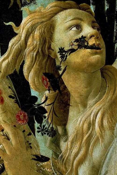 """Primavera - Chloris detail, 1482  Sandro Botticelli  .  From wiki: """"Chloris - In Greek mythology, the name Chloris (Khloris Χλωρίς, from khloros χλωρός, meaning """"greenish-yellow,"""" """"pale green,"""" """"pale,"""" """"pallid"""" or """"fresh"""") appears in a variety of contexts. Some clearly refer to different characters; other stories may refer to the same Chloris, but disagree on details.  Chloris (Nymph)  Chloris was a Nymph associated with spring, flowe"""