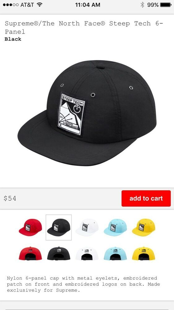 4d89e6c1 Supreme SS16 The North Face Steep Tech 6-Panel Hat Black TNF #fashion  #clothing #shoes #accessories #mensaccessories #hats (ebay link)