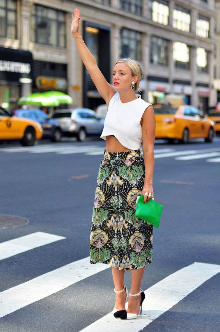 Liking the skirt... Kate Foley   Cropped White Top and Midi Vintage Print Skirt