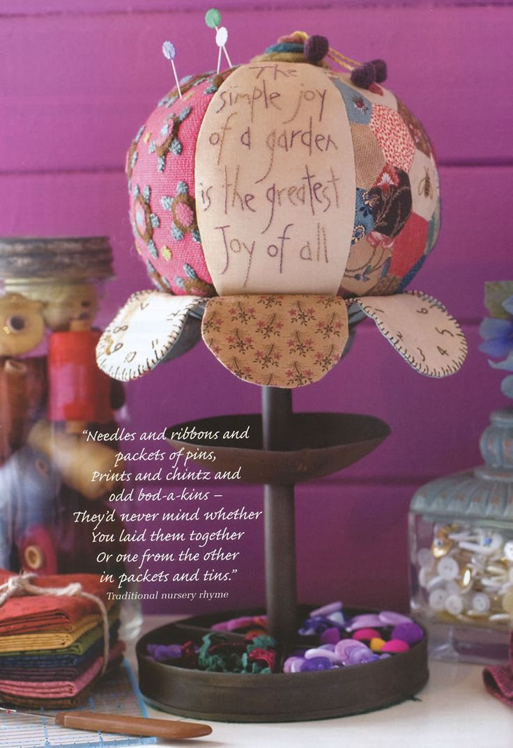 pincushion with a nice garden quote..lol where to pin? where to pin???