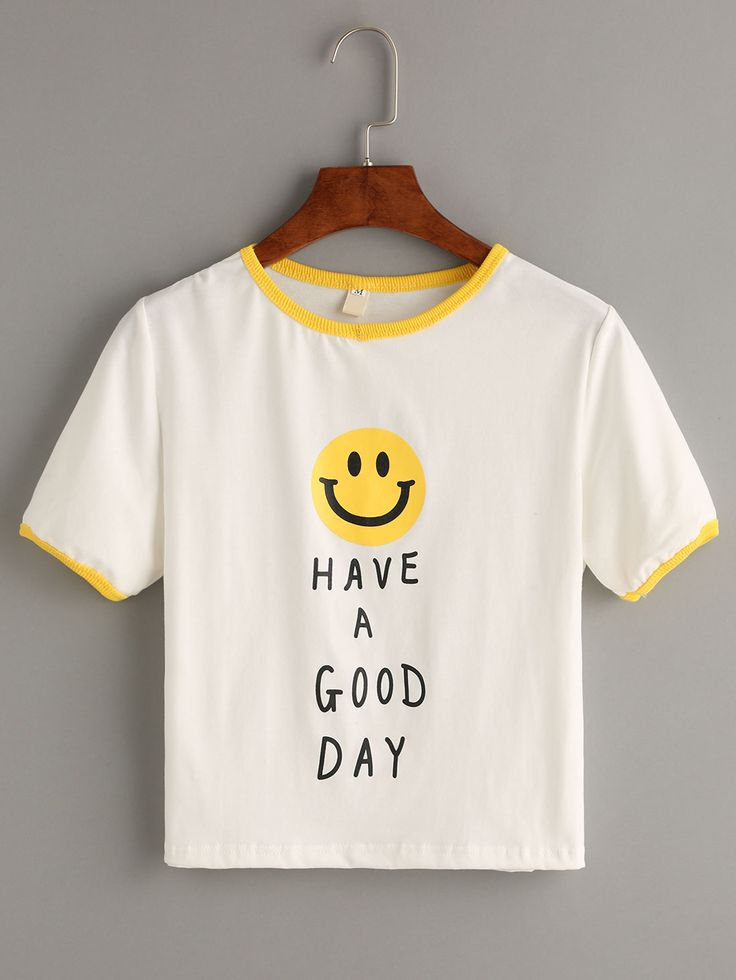 White Smiley Face Print Contrast Trim T-shirt