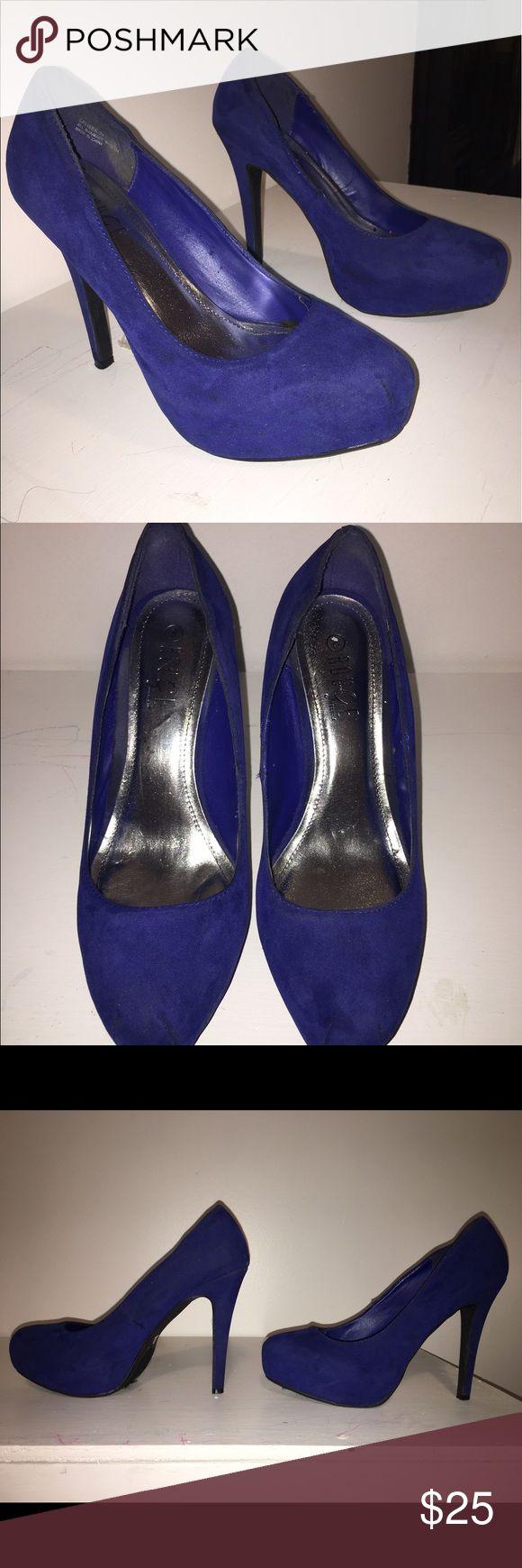 Navy Blue High Heels Platform heels so about 4in. Size 8. Velvet material. Worn once. Shoes Platforms