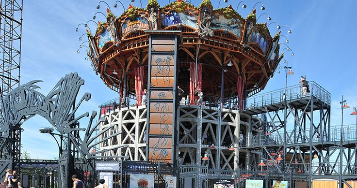 a French carousel you can take a whirl on a triple leveled 'Carrousel Des Mondes Marins'. Each level is individually dedicated to underwater themes including the Seabeds, the Abyss, and the Sea Surface – complete with scary fish and manta ray.