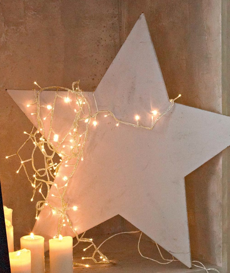 Oooh, do some lit up stars for Christmas!  Maybe one big one out of wood, lined in lights, painted and distressed (maybe gold and then white-washed), that says something about Jesus (for unto you is born this day...). PS @Crystal Hysell, looks like you'd love this too