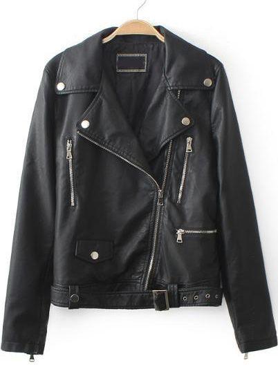 Buy Black Lapel Long Sleeve Zipper PU Leather Jacket from abaday.com, FREE shipping Worldwide - Fashion Clothing, Latest Street Fashion At Abaday.com