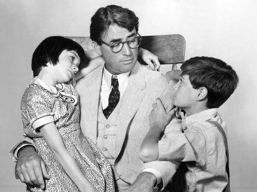 Phillip Alford and Mary Badham | Gregory Peck, Mary Badham and Phillip Alford in To Kill a Mockingbird.