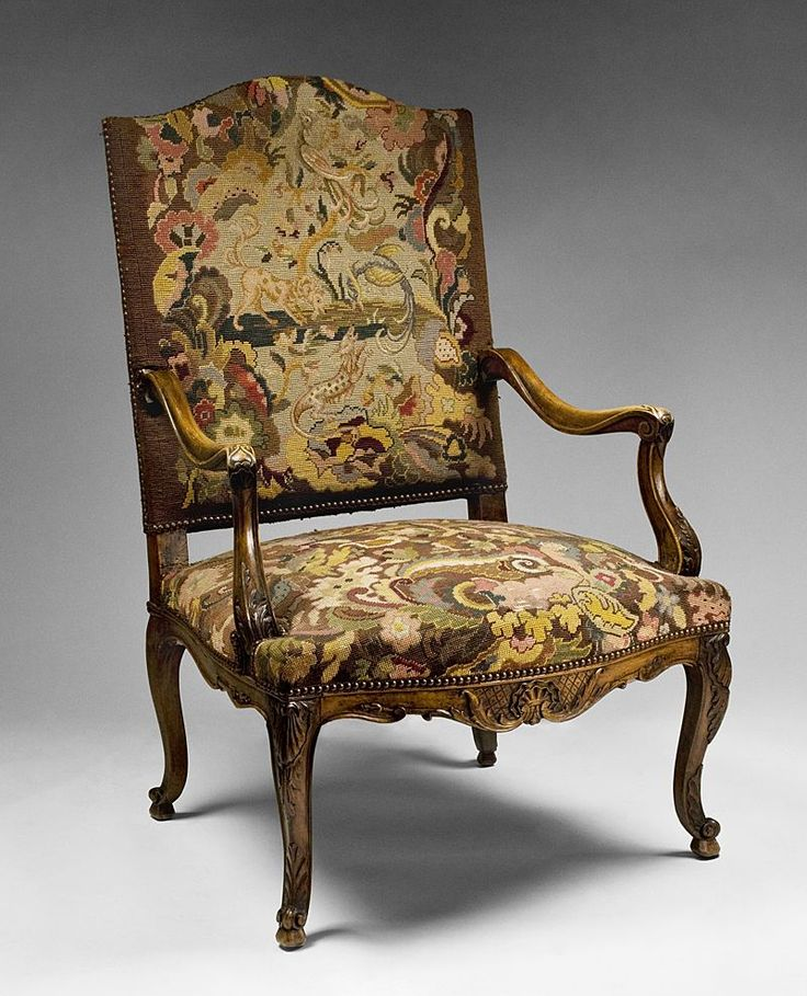 French 19th C. Louis XV French Provincial Armchair With Needlepoint  Tapestry - Found on Ruby - 11 Best Needlepoint Tapestry - Vintage & Antique Images On