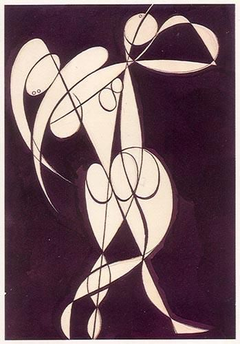 « Par de Bailarinas »  Tinta da china e lápis sobre papel.    José de Almada Negreiros (1873 - 1970 )
