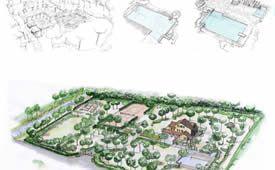 Parco privato con piscina in Versilia: alcuni disegni preparatori.