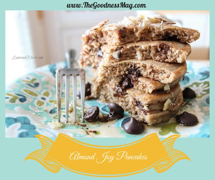 From our September Goodness Eats section, delicious #dairyfree #guiltfree Almond Joy Pancakes by Laurenda Marie from LaurendaMarie.com. Enjoy a FREE 7 day taste test --> http://buff.ly/X5KnJL