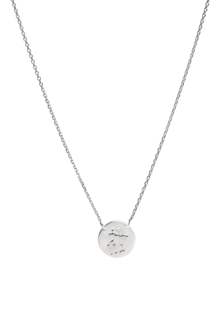 Gemini constellation necklace in 14k gold and a diamond. May 21 to June 20.  Available in white or yellow gold. Free personalized engraving on the back of the pendants. Shop the collection at www.reena.ro or order directly at reena.orders@gmail.com.