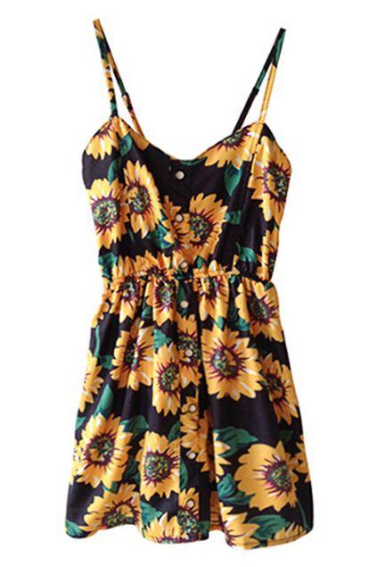 ROMWE | ROMWE Sunflowers Print Elastic Waistband Strap Dress, The Latest Street Fashion