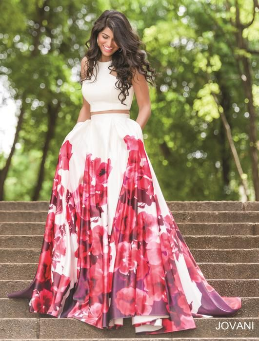 JOVANI PROM 34028: Stunning two-piece sleeveless dress features a multicolored floral print A-line skirt.