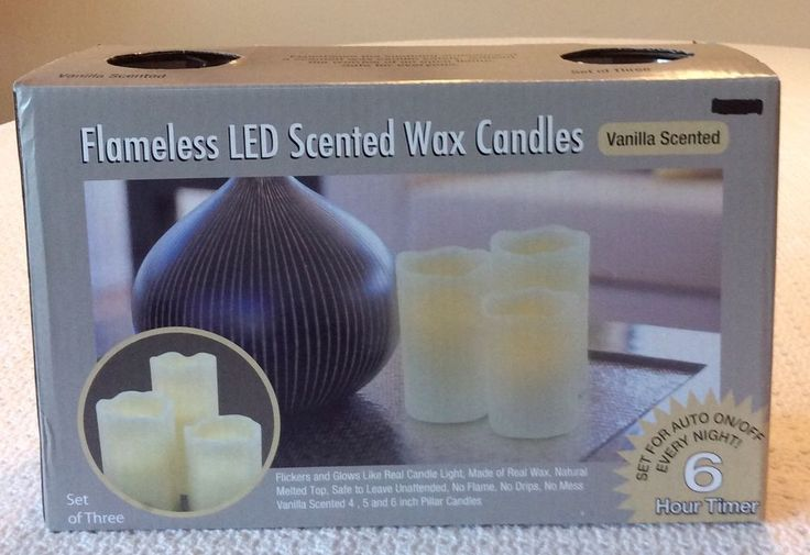 Flameless Led Vanilla Scented Wax Candles Set Of 3 New In Box!