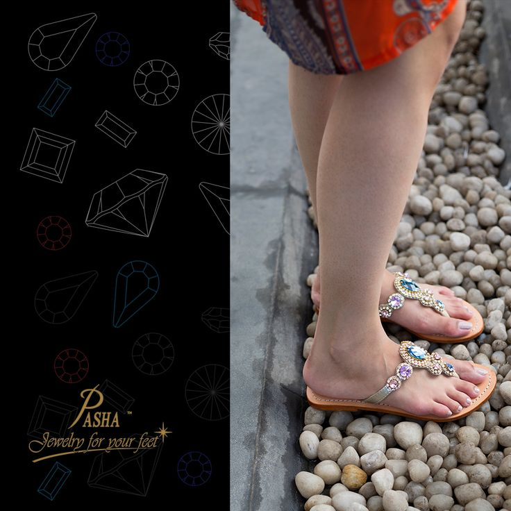 3976c4eb7b56 Shine on the Pebbles with our CORINTHess in Rose Gold with blue rhinestones  from Embellished Pasha Sandals Make it to the Beachy Town with CORINTH the  ...