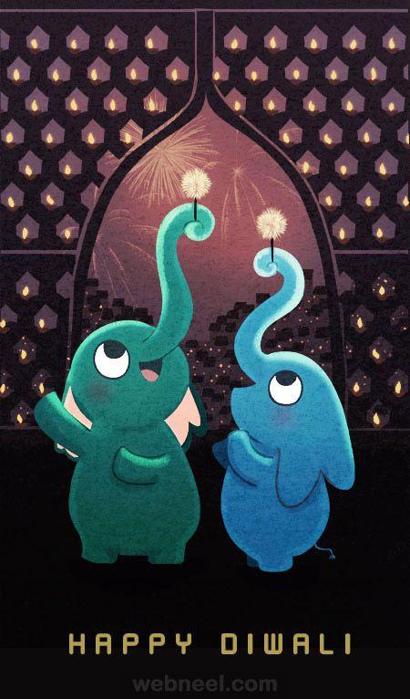 diwali greeting cards cartoon