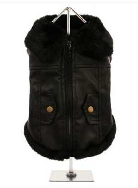 For the ultimate in dog coats, it has to be this Luxury Black Leather and Fur Lined Coat. The front fastening zip makes it very easy to take on and off your pup. While, the faux fur edging gives a real fluffy effect for your pup. The two mock pockets on the back complete the look, and the fleece lining will keep your pup warm.
