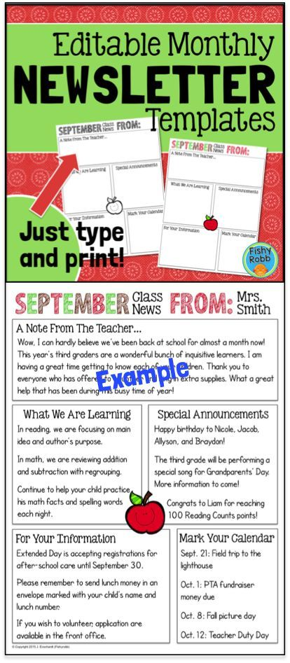 The  Best Parent Newsletter Template Ideas On