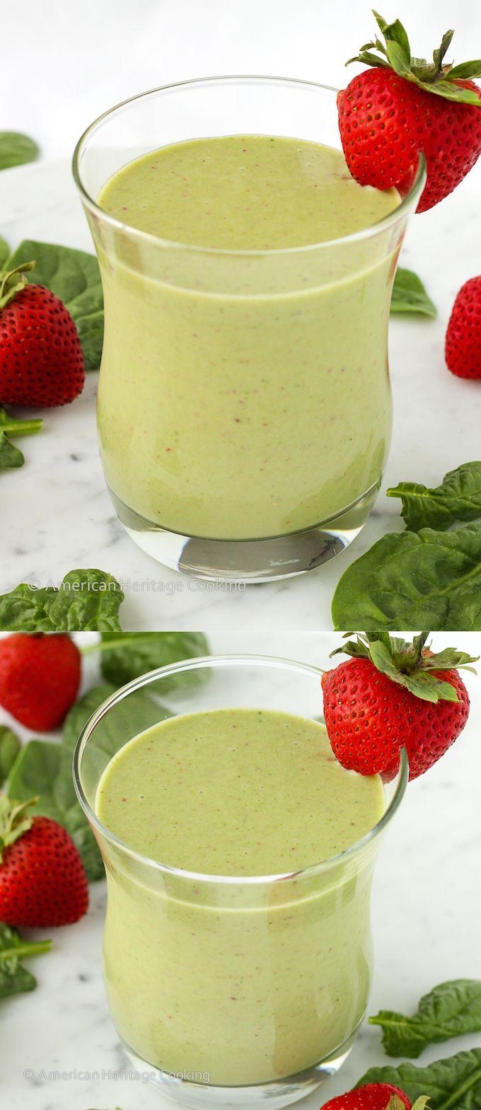 This easy recipe for a healthy Strawberry Banana Spinach Smoothie is fast, easy and delicious!!!