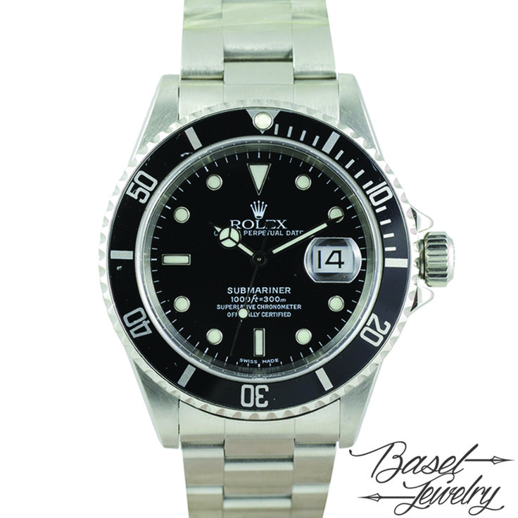 PRE-OWNED ROLEX 16610 SUBMARINER BLACK DIAL-SW02469 HKD 42,800.00 USD 5,529.00