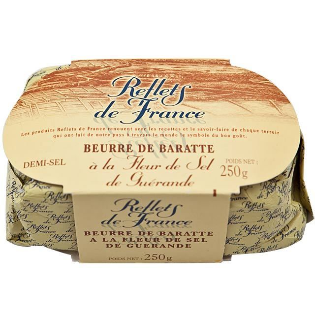Reflets de France Guerande Salted Butter Normandy Butter made with Guerande Salt  Skimmed, pasteurised, left to mature and the whole milk is then churned. The Guerande salt is then added during this process. Its high quality flavour means that there is nothing else like it. Storage