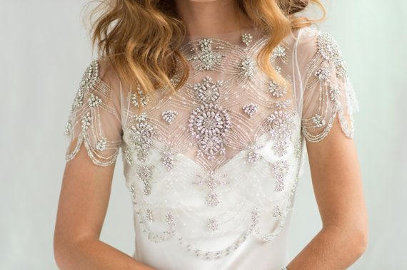 Bridal Cover-up Wedding Crop Top, 1920's Crystal Beaded Short Sleeve by Camilla Christine