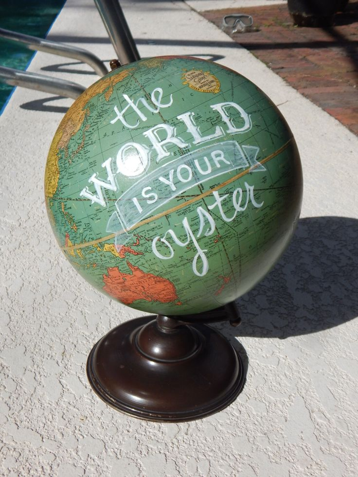 CUSTOM PAINTED The World is Your Oyster Hand Painted Globe by WellRedDesign on Etsy https://www.etsy.com/listing/253216076/custom-painted-the-world-is-your-oyster