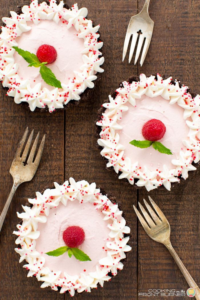 These mini no-bake Raspberry Mousse Tarts are the perfect dessert for Valentine's Day or any after dinner treat!